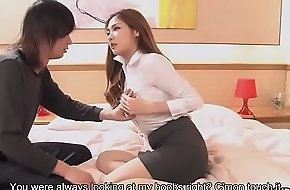 Beamy boobed Asian teacher gets facialized after the sex lesson
