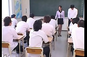 Japanese Teacher abject and Cum call of the brush Students in Pot-pourri