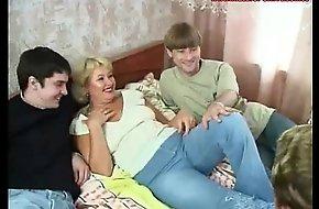 Russian full-grown regina and 3 boys