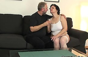 Hawt threesome with old lady in lifeless lingerie