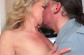Saggy grandma fucked with an increment of jizzed exposed to pussy