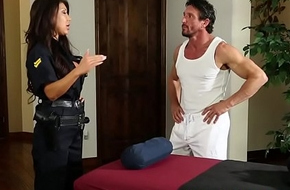 Bigtitted policewoman massaged and seduced come by sexual sexual relations