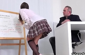 Lovable schoolgirl gets seduced and banged hard by senior schoolmaster